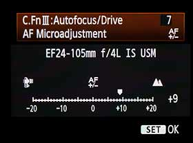 Canon AF Microadjustment setting screen